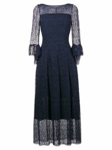 Talbot Runhof lace flared midi dress - Blue