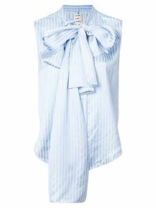 Maison Rabih Kayrouz bow detail sleeveless striped blouse - Blue