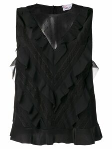 RedValentino sleeveless ruffled blouse - Black