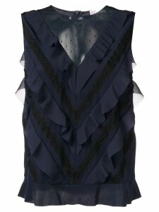RedValentino sleeveless ruffled blouse - Blue