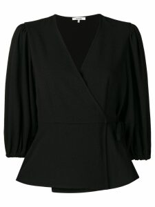 GANNI wrap blouse - Black