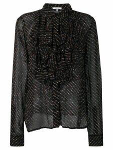 Ganni ruffled floral print blouse - Black
