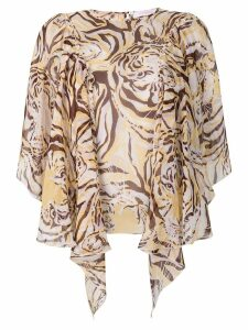 See by Chloé tiger print flouncy blouse - NEUTRALS
