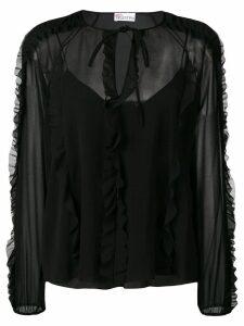 RedValentino ruffle trim blouse - Black