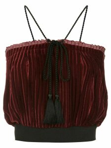 À La Garçonne velvet pleated blouse - Red