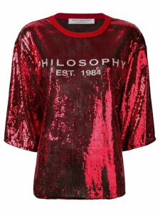 Philosophy Di Lorenzo Serafini logo embellished blouse - Red