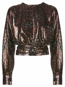 MSGM leopard-print sequinned top - Brown