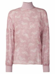 Fendi embroidered long-sleeve blouse - Pink