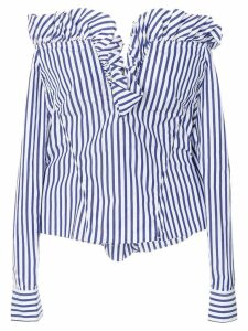 Marques'Almeida off-the-shoulder ruffled striped blouse - Blue