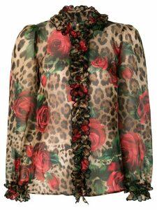 Dolce & Gabbana mixed-print ruffled blouse - Multicolour