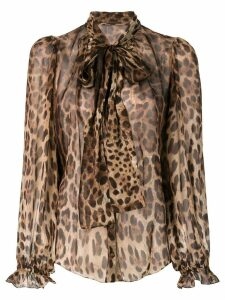 Dolce & Gabbana leopard-print pussy bow blouse - Brown