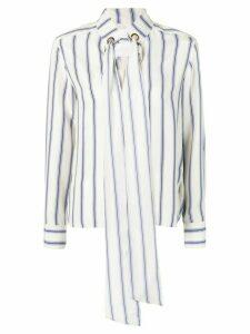 Chloé striped cravate blouse - White