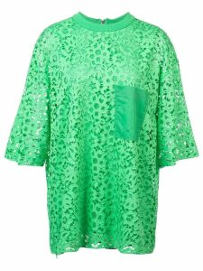 Tibi lace short-sleeved blouse - Green