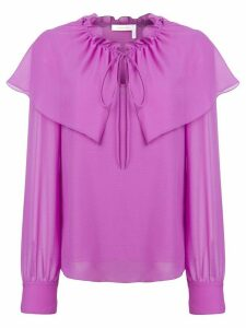 See By Chloé flouncy neck tie blouse - Purple
