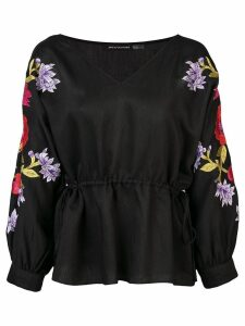 Josie Natori floral embroidered blouse - Black