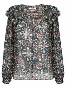 Isabel Marant Étoile geometric long-sleeve blouse - Blue