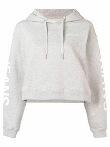 Calvin Klein Jeans logo print cropped hoodie - Grey