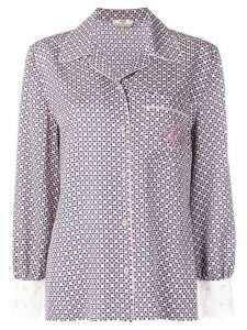 Fendi embroidered logo silk shirt - PINK