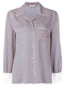 Fendi embroidered logo silk shirt - PINK