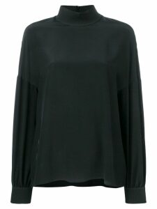 Fendi FF logo trim silk shirt - Black