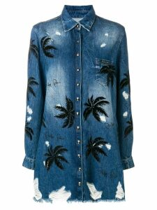 Philipp Plein embellished palm tree denim shirt - Blue