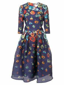 Carolina Herrera floral-print flared dress - Blue