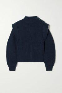 Hervé Léger - Fluted Off-the-shoulder Textured Stretch-knit Dress - x small