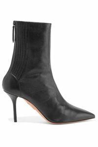 Aquazzura - Saint Honoré 85 Leather Sock Boots - Black