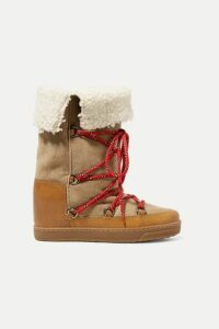 Isabel Marant - Nowly Shearling-lined Textured-leather And Suede Snow Boots - Tan