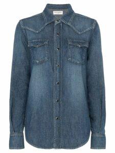 Saint Laurent popper button envelope pocket denim shirt - Blue