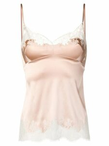 Carine Gilson Caraco lace inserts cami top - Neutrals
