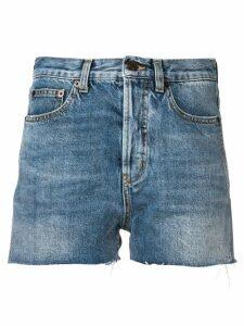 Saint Laurent distressed edge shorts - Blue