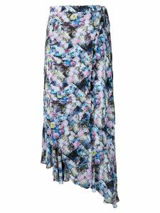 Preen Line floral print asymmetric skirt - Blue