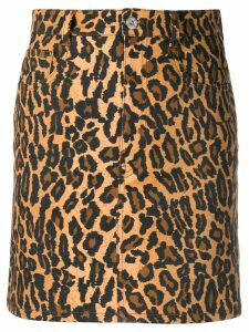 Miu Miu leopard mini skirt - Brown