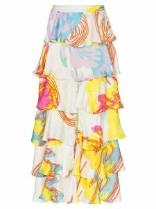 All Things Mochi Perla Tiered Ruffled Maxi Skirt - White