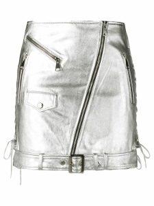 Manokhi metallic biker skirt - SILVER