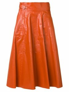 Bottega Veneta pleated A-line skirt - ORANGE