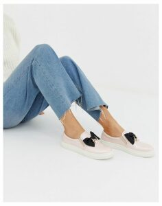 Glamorous slip on trainers with bow detail-Pink