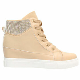 Krisp  Diamante Cuff Wedge Trainers  women's Shoes (High-top Trainers) in Beige