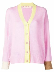 Marni colour-block long-sleeve cardigan - Pink