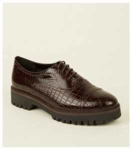 Burgundy Leather Faux Croc Lace Up Shoes New Look