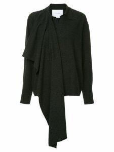 pushBUTTON scarf wrap sweater - Grey