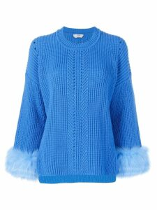 Fendi fur-trim knit sweater - Blue