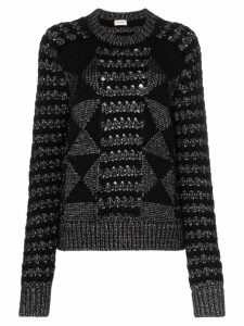 Saint Laurent cable knit mohair jumper - Black