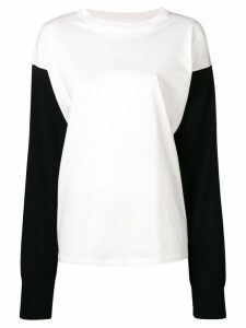 Mm6 Maison Margiela contrasting sleeves sweater - White