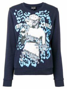 Just Cavalli logo graphic print sweater - Blue