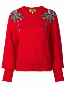 MSGM palm tree embellished sweater - Red