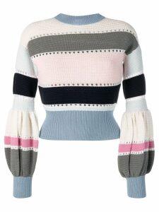 Self-Portrait puff sleeve striped sweater - Blue