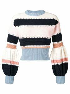 Self-Portrait puff sleeve striped sweater - Pink