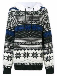 MSGM patterned hooded sweatshirt - White